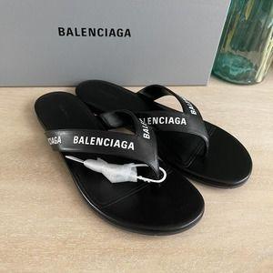 Balenciaga Round Leather Thong Sandals Black 37